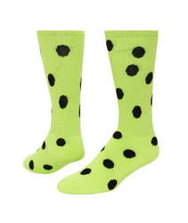 Dots Knee High Sports Sock - Neon Green & Black
