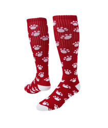 Paws Knee High Sports Socks - Red & White