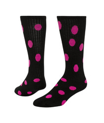 Dots Knee High Sports Sock - Black & Neon Pink