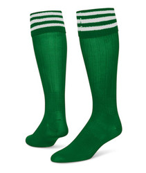 3 Stripe Striker Knee High Sports Socks - Kelly Green & White