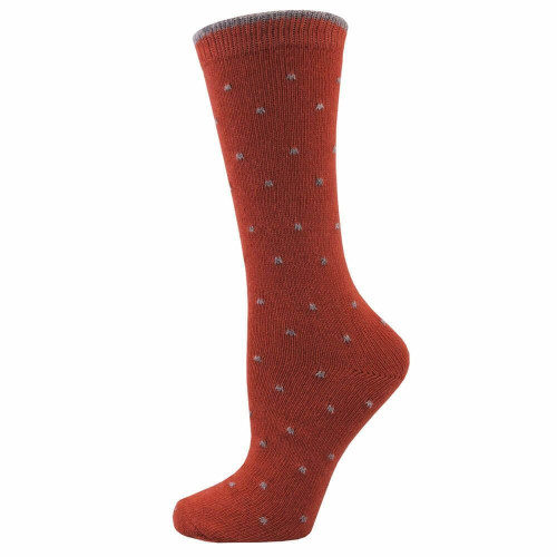 Women's Coral Kitty Pin Dotted Crew Socks