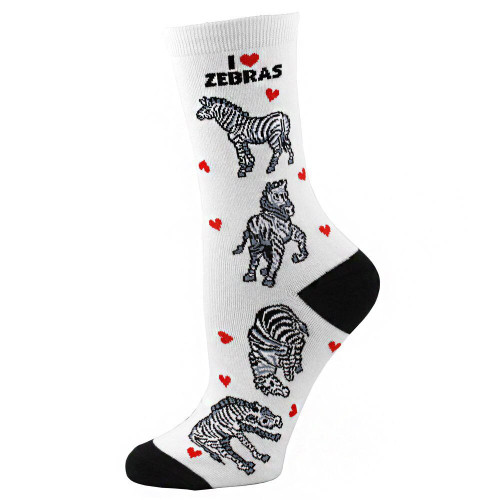 Women's I Love Zebras Crew Socks