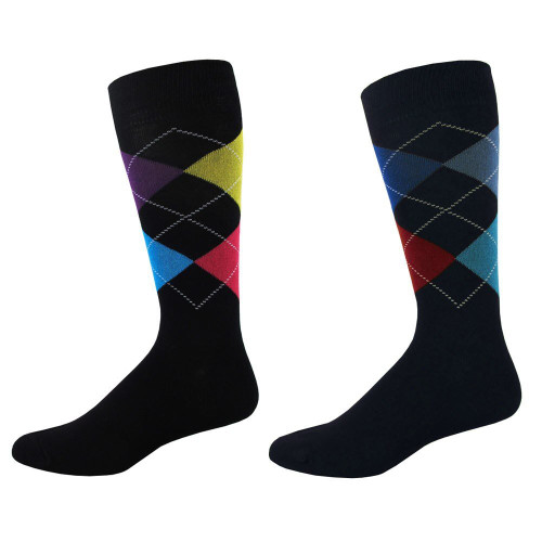 Men's Black Argyle Pattern Crew Socks