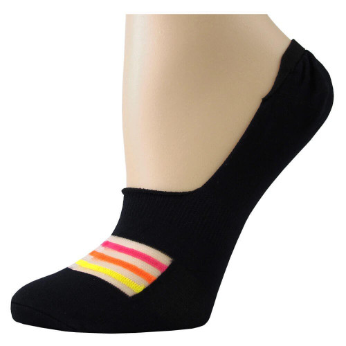 Women's Neon Stripe No Show Anklet Socks