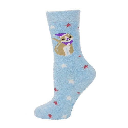 Women's Christmas Kitty Chenille Non Skid Socks