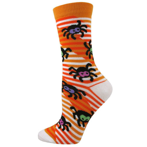 Women's Gold Scary Spiders Crew Socks