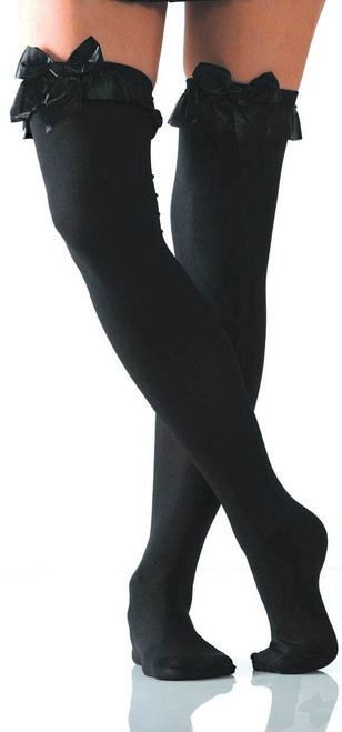 Opaque w/Bow Thigh Highs