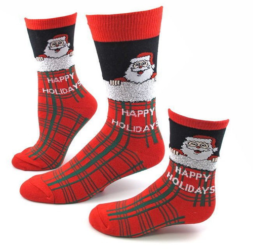 Women's Santa Plaid Christmas Socks