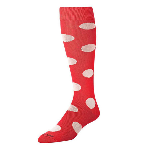 Red With White Polka Dot Over The Calf Sport Socks