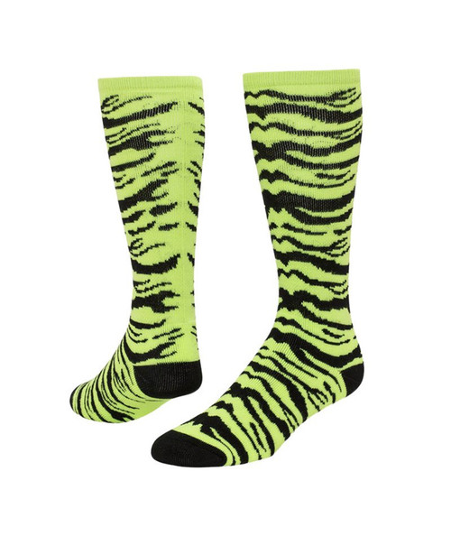 Safari Knee High Sports Socks - Neon Green & Black