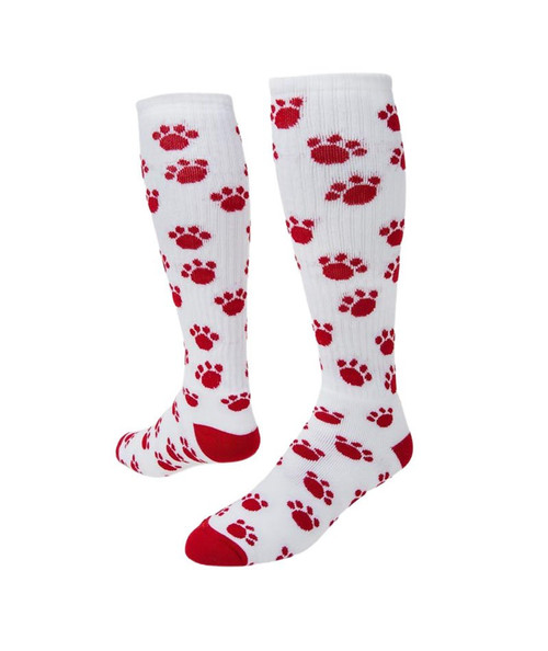 Paws Knee High Sports Socks - White & Red