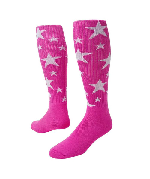 Stars Knee High Sports Socks - Neon Pink & White