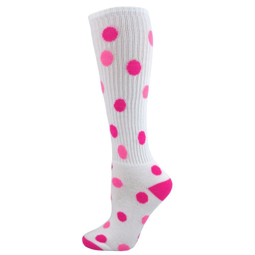 Spots Knee High Sports Socks - White with Neon Pink & Pale Pink