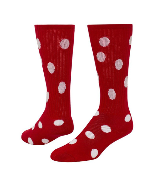 Dots Knee High Sports Sock - Red & White