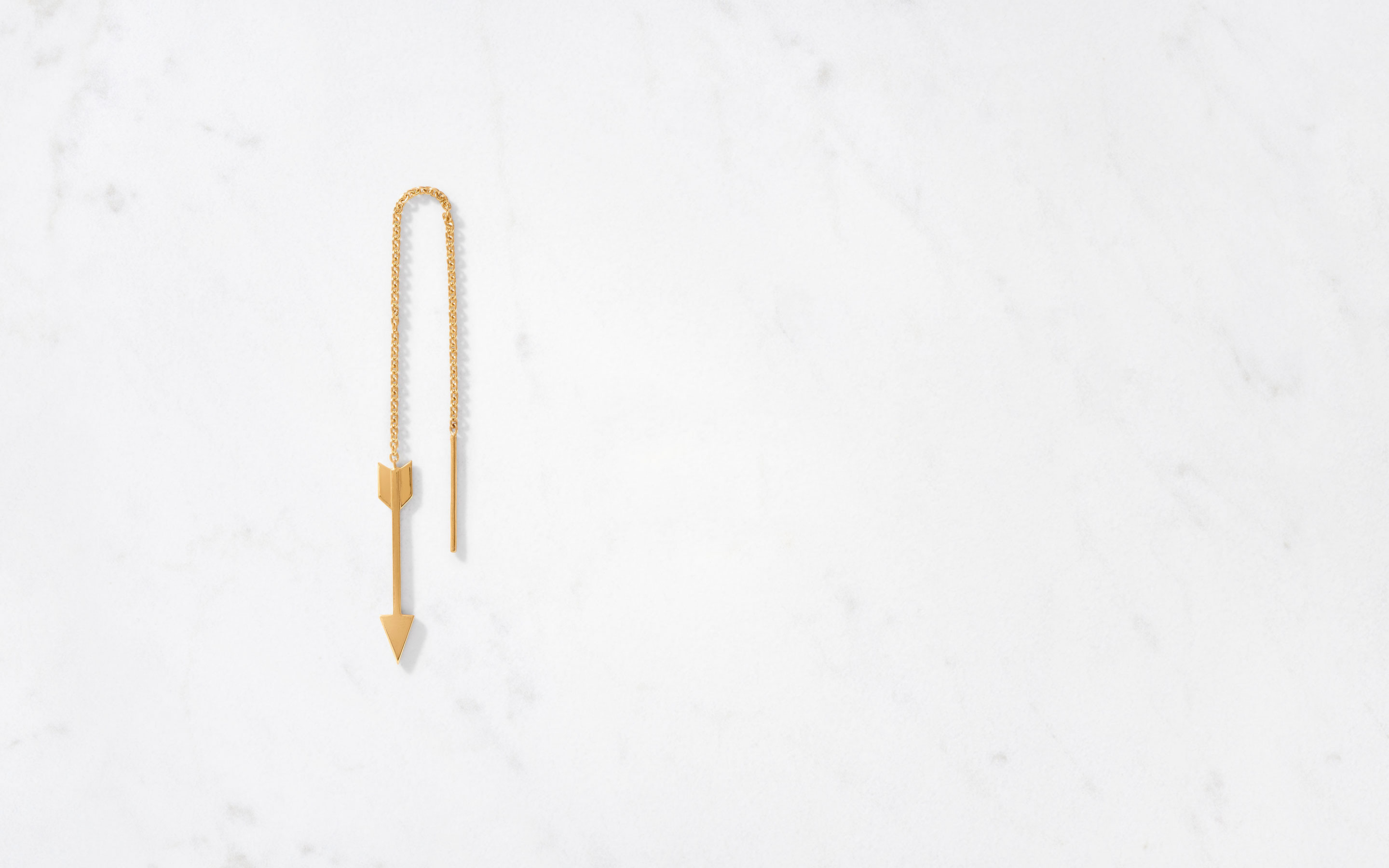 chic arrow-shaped threader earrings in 22 karat gold
