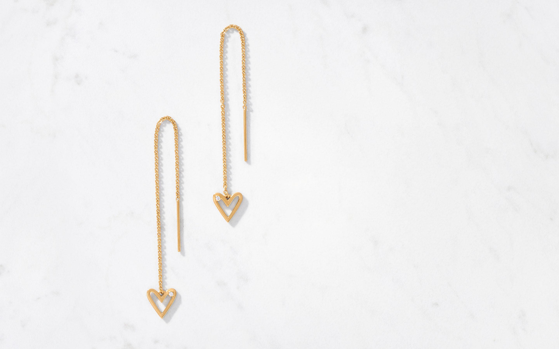 sleek threader earrings with diamonds in 22 karat gold