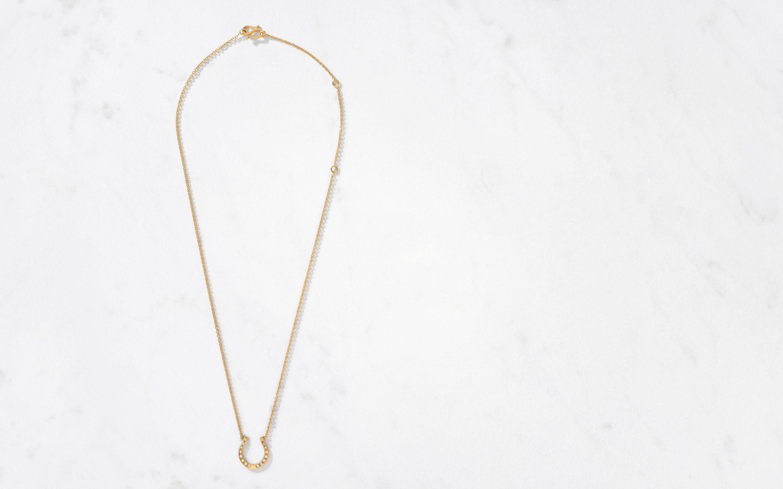 GOLDEN HORSESHOE DIAMOND NECKLACE