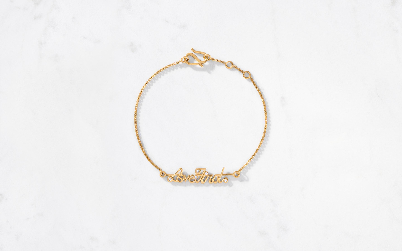 Stunning Love First gold bracelet made of 22 karat investment grade gold