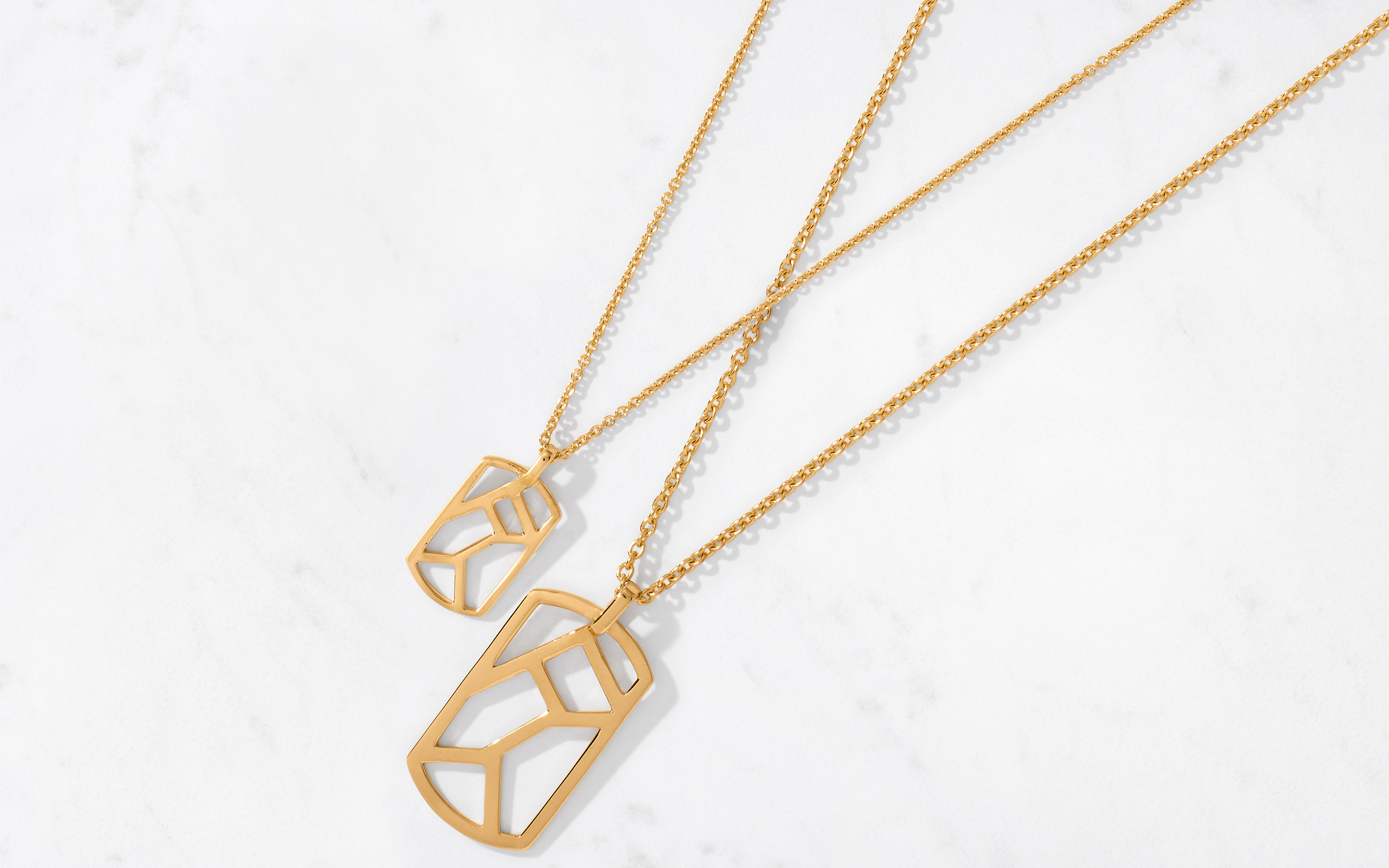 Linear Maze Pendant & Chain Small/Polished