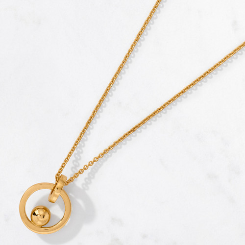 Enter the inner circle. Crafted from 22 karat gold and polished to a high gleam, Perigee Pendant, with an approximate gold weight of 10.6 grams, orbits your center of gravity from a delicate chain.