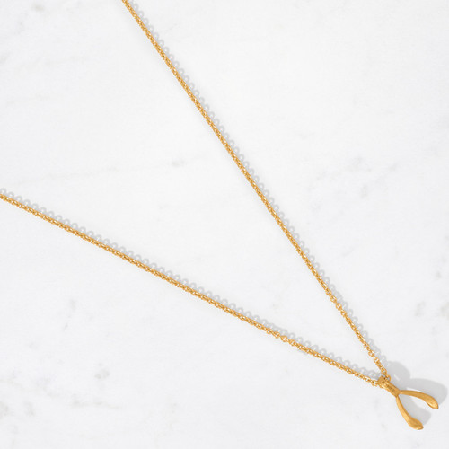 A little bit of luck goes a long way. Our Small Wishbone Pendant handcrafted in 22 karat satin finished gold with a gold weight of approximately 6 grams is a delicate reminder that good things sometimes come in small packages.