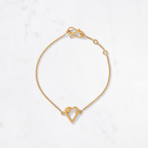 Wear your heart on your sleeve for the whole world to see! Our new Heartbeat Bracelet is made by hand from 22 karat polished gold with a gold weight of approximately 4.4 grams. Wear as a single statement or layer for arm-candy cool.