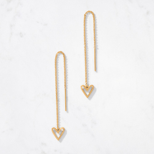 In mirror fashion, each 22 karat gold Heartbeat Threader Earring is set with a sparkling round-cut diamond for a glint of glamour. Handmade from approximately 3.2 grams of gold per pair.