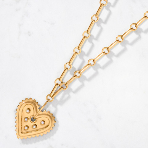 Show off your heart of gold with our Bold Heart Diamond Pendant. Handcrafted from 22 karat polished gold with five round cut diamonds, the Bold Heart is perfectly positioned on our Long Link Chain — all with an approximate gold weight of 80 grams.