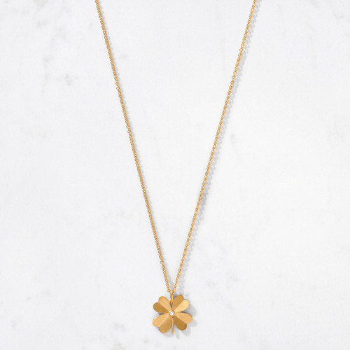Strike gold in our 22 karat gold satin finished 4 Leaf Clover Necklace. Handcrafted from approximately 8 grams of gold, this auspicious shamrock pendant sparkles with a round cut diamond center.