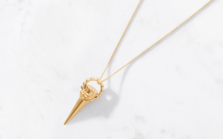 Ornate Cone Amulet & Chain Large Polished