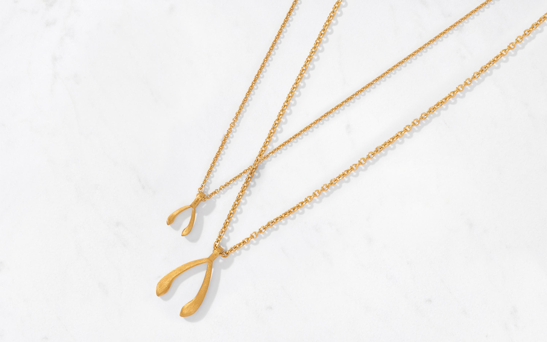 Wishbone Pendant & Chain Large/Satin