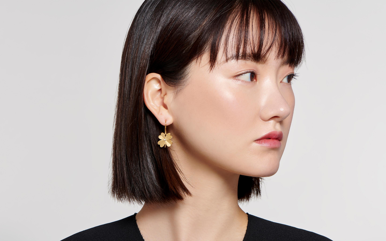 4  Leaf Clover Earring Polished