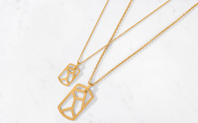 Linear Maze Pendant & Chain Large/Satin