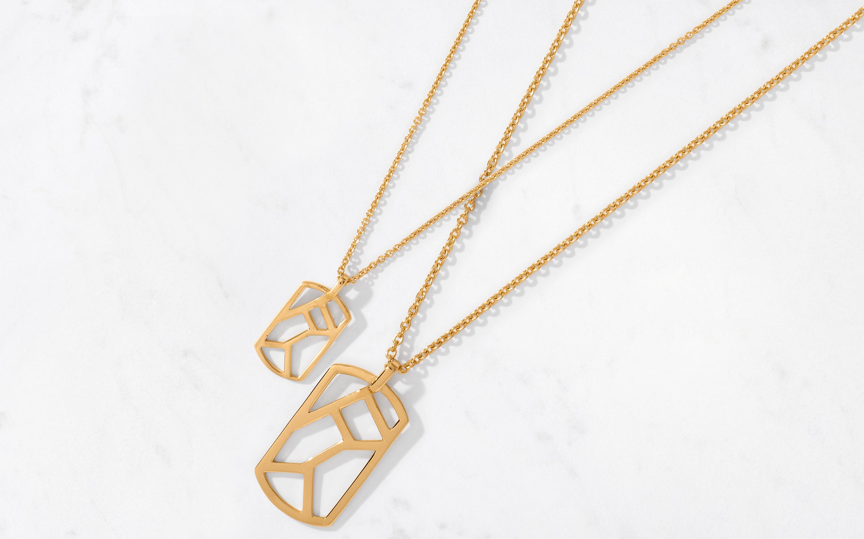 Linear Maze Pendant & Chain Large/Polished