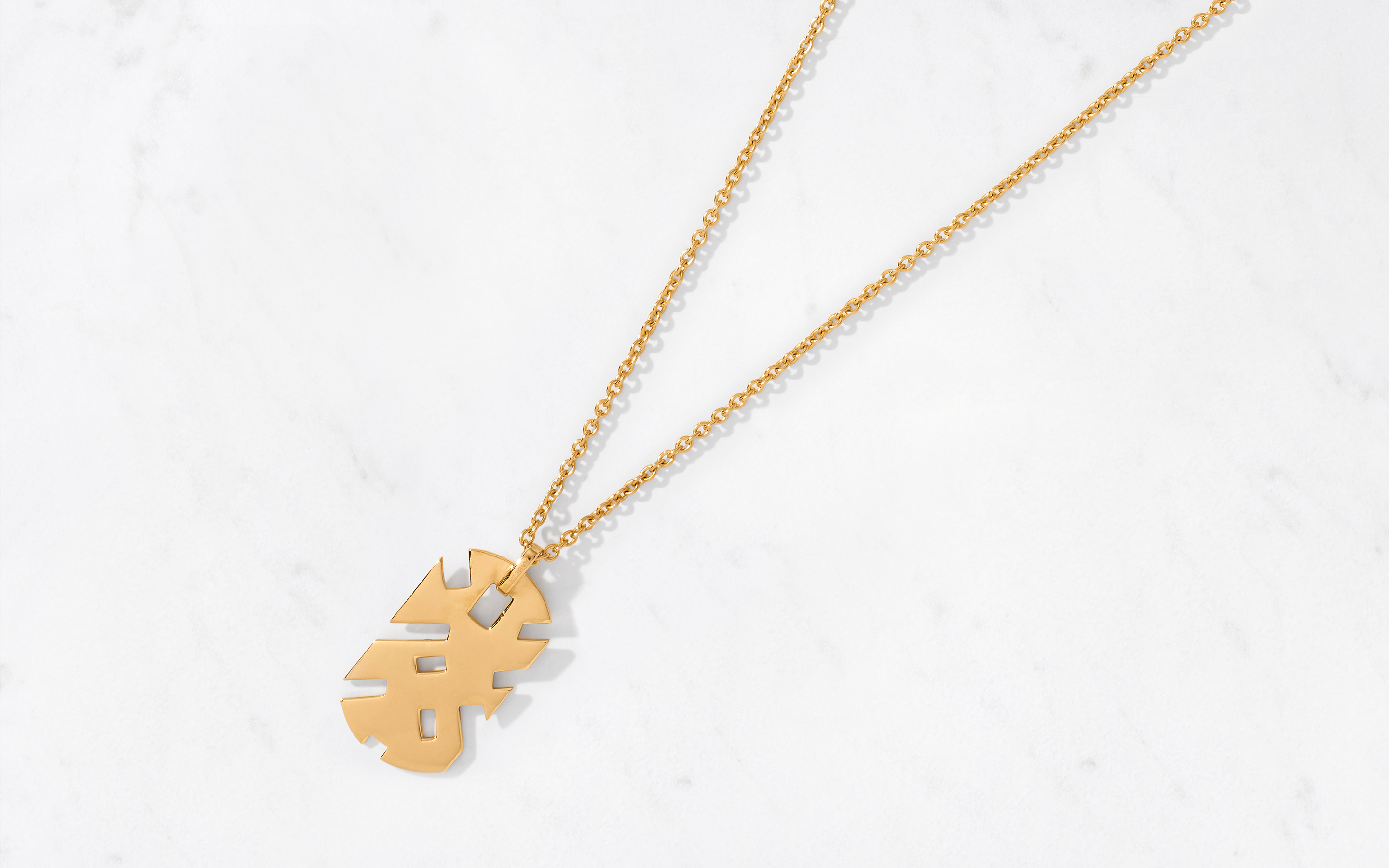 Solid Maze Large Pendant & Chain Polished