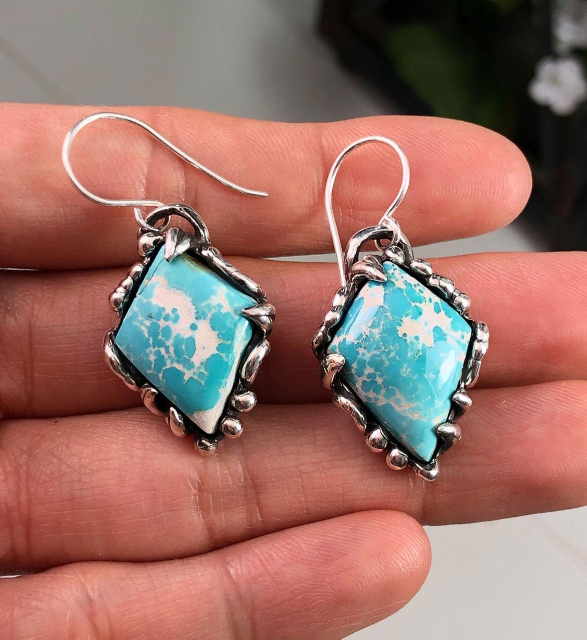 Natural Turquoise From Royston Nevada Cabochon Cab Pair Drilled Matched Earrings Bead Pair E1501