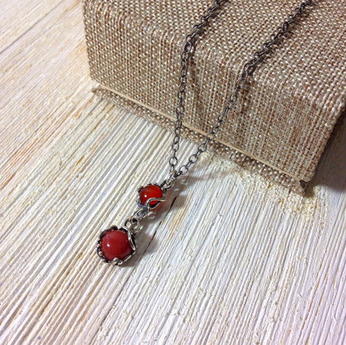 Carnelian and Sterling Silver Necklace