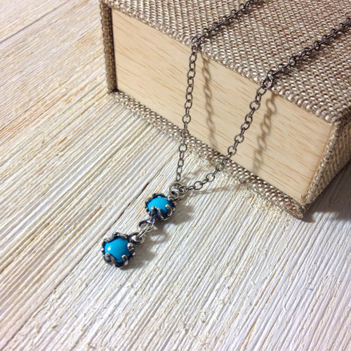 Super chic 2 stone blue Turquoise Necklace