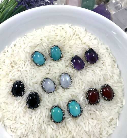Handmade Sterling Silver and Gemstone Stud Earrings