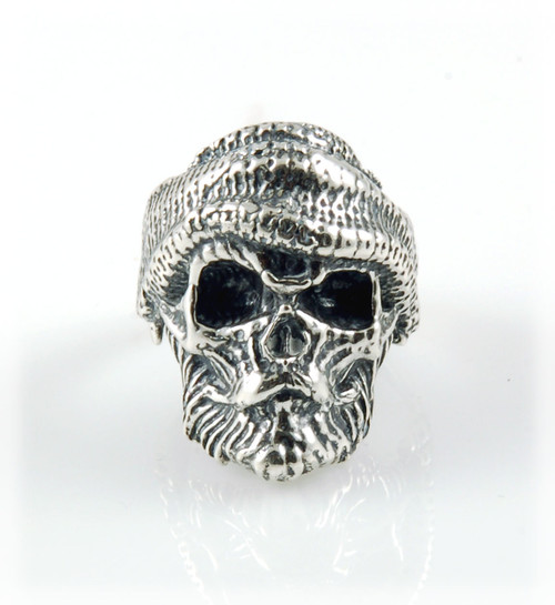 Bearded Fisherman Sterling Silver Skull Ring