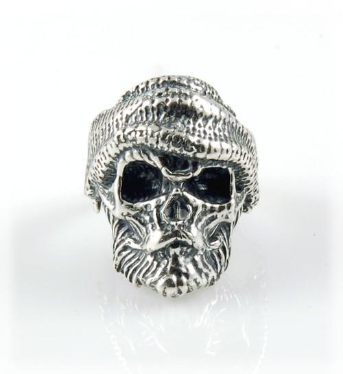 Bearded Fisherman Sterling Silver Skull Ring