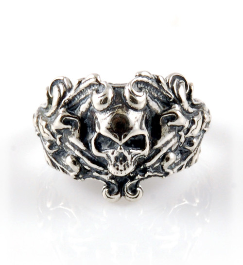 Victorian Style Silver Skull Ring