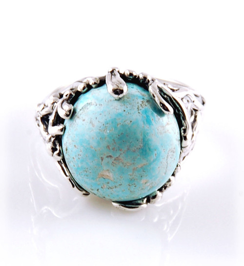 Castle Dome Turquoise Ring Size 7.5