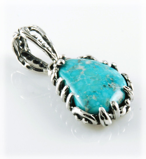 White Water Turquoise Lost Wax Pendant