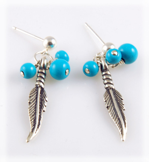 Castle Dome Turquoise Bead Earrings