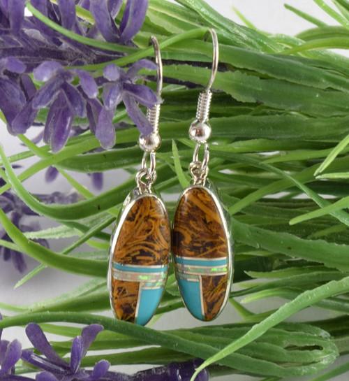 Coquina Jasper Inlay Silver Dangle Earrings