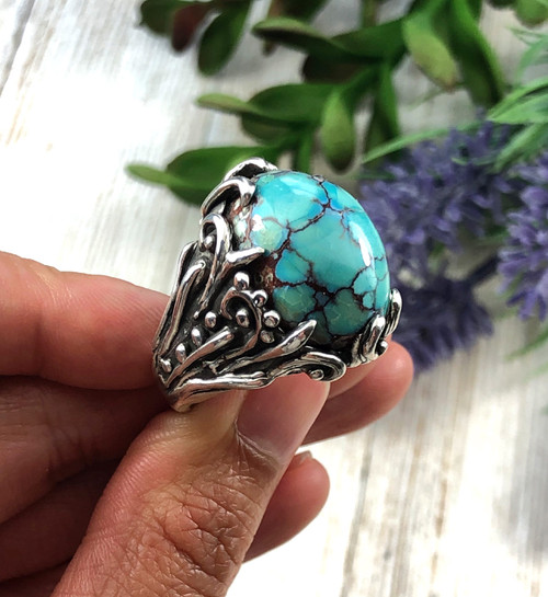 Ultra high dome Egyptian Turquoise Ring