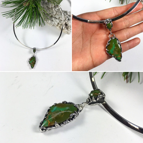 King's Manassa Turquoise Pendant Necklace