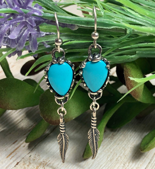 Castle Dome Turquoise Dangle Earrings
