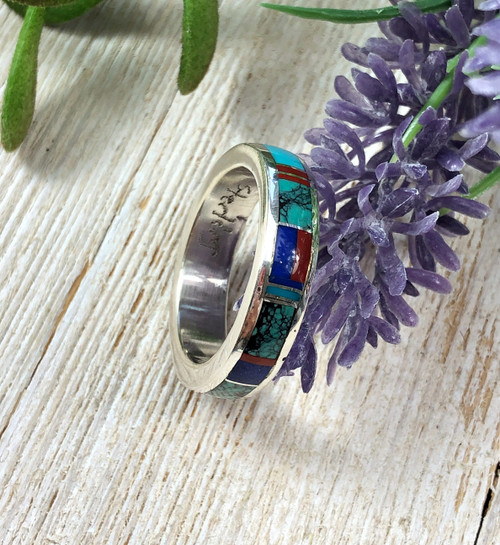 Inlay Ring with Turquoise Lapis and Coral